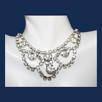 Vintage Unsigned Festoon Rhinestone Choker Necklace