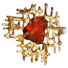 Vintage 14kt Gold Brooch/Pendant with a Rough Cut Amber Topaz