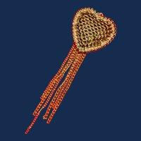 Gold Tone filigree Heart Pendant with Tassels