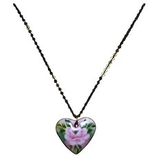 Vintage Ceramic Heart Pendant w/ Painted Rose and Necklace