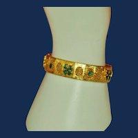 Vintage Etruscan Revival Gold Toned Bracelet with Green 4 Leaf Shamrocks