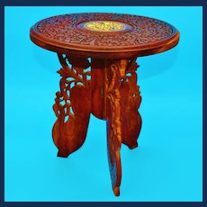 Anglo-Indian Vintage Folding Wooden Tea Table
