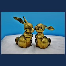 Adorable Vintage Pair of Brass Bunnies