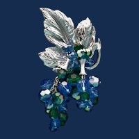 Vintage Unsigned Silver Toned Leaf & Berry Brooch with Peacock Blue Rhinestones