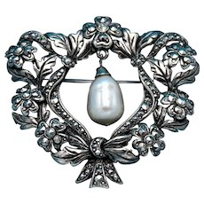 Vintage Unsigned Avon Silver Toned Brooch with Marcasite Stones and a Faux Teardrop Pearl