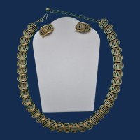 Vintage Trifari 10ct Gold Plate Rope Design Panel Necklace with Matching Earrings