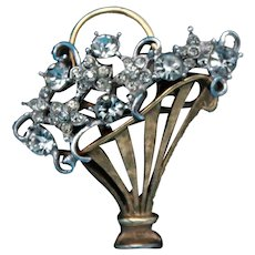 Vintage Unsigned Silver and Gold Toned Bouquet Brooch with Clear Rhinestones
