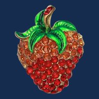Vintage Gold Toned Strawberry Brooch with Green Iridescent Enamel and Red & Orange Rhinestones
