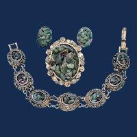 Vintage Etruscan Revival Gold Toned, Demi-Parure, each piece is with Glazed Aventurine.