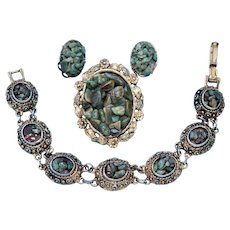 Vintage Etruscan Revival Gold Toned, Demi-Parure, each piece is with Glazed Aventurine.