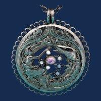 Art  Nouveau Pleiades or Seven Sisters Pendant & Pot Metal Necklace