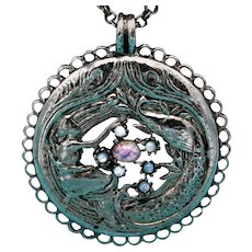 Signed SWB Pot Metal Medallion Necklace with a Woman, Peacock, and Faux Opals