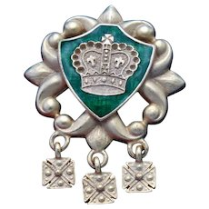 """Vintage """"Signed"""" AJC Gold Toned and Green Shield Brooch with 3 dangle Maltese Crosses"""