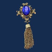 Vintage Victorian Revival Tassel Brooch; Gold Toned with a Blue Cabochon and Gold Marcasites