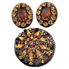 """Vintage Japanned Brooch and Earrings with Amber, Citrine, and Topaz Rhinestones """"Made In Austria"""""""