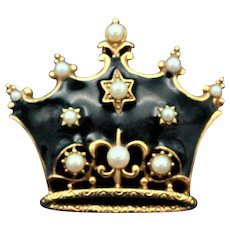 Vintage Victorian Revival Crown Brooch Gold Toned with Black Enamel and Faux Pearls.