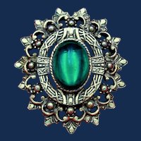 Etruscan Revival Gold Toned Brooch with Round Beads, Etchings and a Green Cabochon