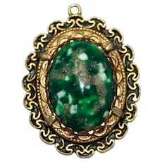 Etruscan Revival Gold Toned Pendant and a Green Cabochon with Gold Flakes