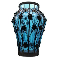 Vintage Blue Glass Vase inside a Wrought Iron Cage with Floral Accents
