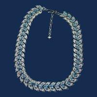 Vintage Signed Trifari Silvertone Necklace with Blue Aurora Borlealis Rhinestones