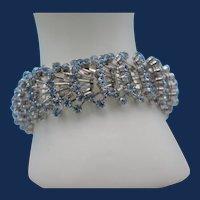 Vintage Unsigned Wide Silvertone Bracelet with Aquamarine Rhinestones