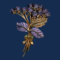 Vintage Gold Toned Brooch, with Violet Painted Flowers and Leaves, and Clear Rhinestones