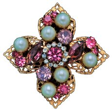 Vintage Gold Tone Cross Brooch with Faux Pearls, Pink, Purple, and Lavender Rhinestones