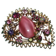 Vintage Austrian Gold Tone Brooch with Multi-Colored Rhinestones and a Pink Pear Shaped Moonstone.