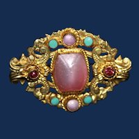 Vintage Czech Gold Toned Brooch with Pink Baroque Pearl and Rhinestones