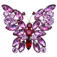Vintage Unsigned Weiss Gold Tone Butterfly Brooch with Red and Pink Rhinestones