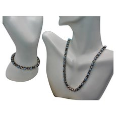 Vintage Unsigned Blue Satin Faux Pearls and Clear Rhinestones Demi-Parure