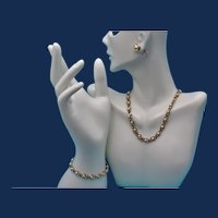 Vintage Gold Tone Parure with 24KGB and Glass Pearls