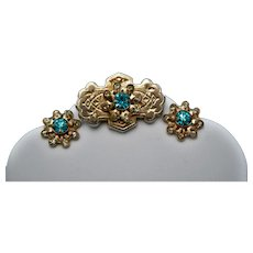 Vintage Gold Tone Demi-Parure with Etchings, Clear, and Aquamarine Colored Rhinestones