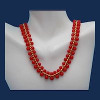 "Vintage Signed ""Napier"" Necklace with Red Glass Beads Woven in Gold Tone Chain."