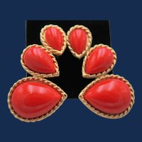 """Vintage Signed """"Trifari"""" Red and Gold Pear Shape Stones Clip On Earrings"""