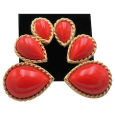 "Vintage Signed ""Trifari"" Red and Gold Pear Shape Stones Clip On Earrings"