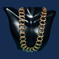 Vintage Signed Krementz Gold Tone Big Link Chain Necklace