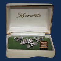 Vintage 1950's Krementz Rhinestone Floral Necklace with Original Box, Price Tag, and Insert.