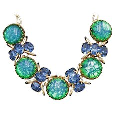 Vintage Gold Tone Wire Necklace with Blue Rhinestones and 5 Large Crackle Glass Cabochons