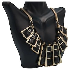 Vintage Gold Tone Statement Necklace with Free Spinning Black Square Pieces
