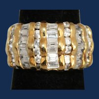 Vintage Chunky  Vermeil Unisex Ring with Glass Rhinestones