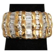 Vintage Vermeil Unisex Ring with Glass Rhinestones