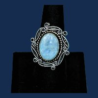 Vintage Silver Tone Ring with a Large White Crackle Cabochon
