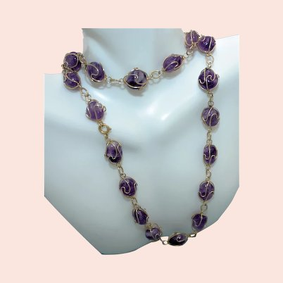 Opera Length Gold Tone Wire Wrapped Natural Amethyst Stones