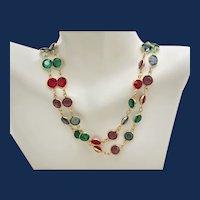 Vintage Multi-Color Chaton Opera Length Necklace