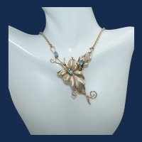 Vintage Gold Tone Necklace with Leaves and 3 Marquise Cut Sky Blue Rhinestones