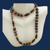 Vintage Opera Length Turtle Shell Agate Beggar Necklace with Gold Tone Accents