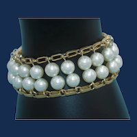 Sarah Coventry Bulky Two Row Faux Pearl Bracelet