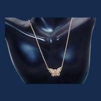 Vintage Avon Gold Tone Necklace a Pink Butterfly Charm