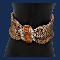 Vintage Lido Yellow Topaz Glass Bracelet